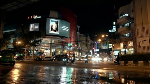 Bangkok, January 2018, night scenes of daily life in the big Asian city