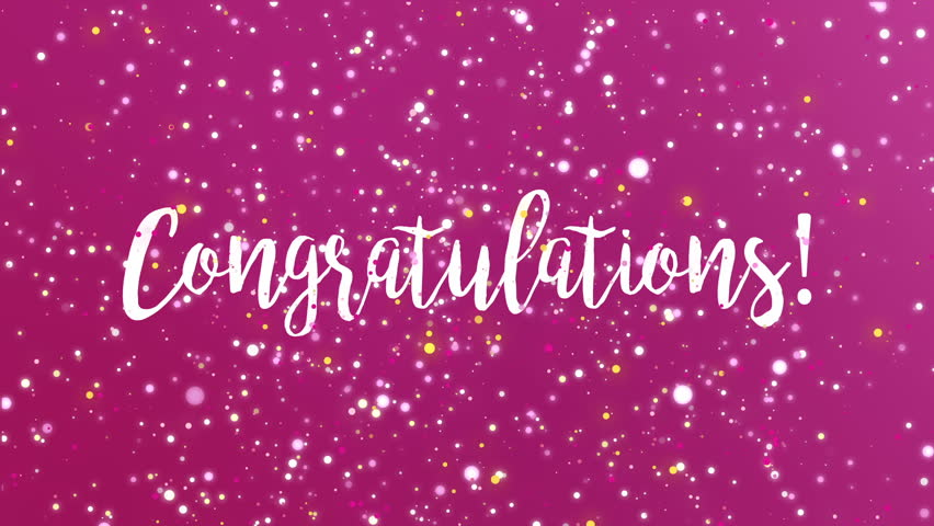 congratulation calligraphic animation with pink background