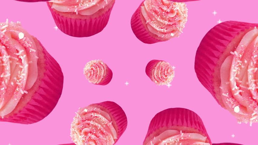 Minimal Motion art. Cakes on pink