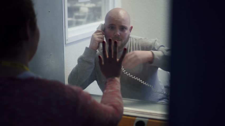 Prison Visit, Phone Booth Between Wife / Girlfriend And Inmate Modern Prison 4K.