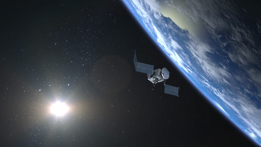 Flying satellite scan and monitor the Earth. The satellite opens solar panels. The earth is on the screen at the top. The earth rotates slowly. 4K. | Shutterstock HD Video #1007918422