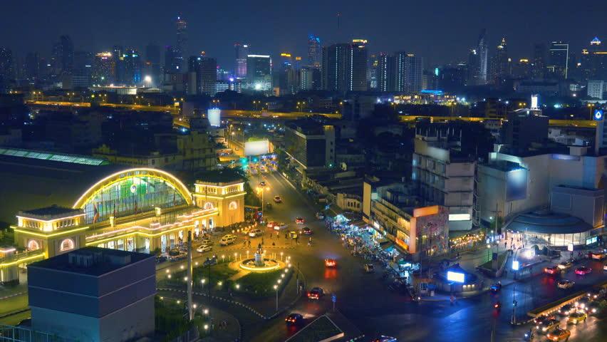 Bangkok Aerial view  to Bangkok Hua Lamphong Railway station with night city skyline.