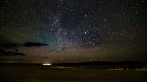 Timelapse - starlapse of stars passing over the Henry's fork river in Idaho in fall
