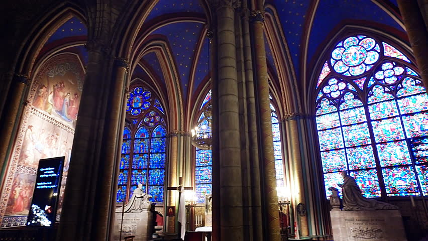 PARIS, FRANCE - circa JUN, 2017: Interior of the Notre Dame de Paris on september 25, 2013 in Paris. The cathedral of Notre Dame is one of the top tourist destinations in Paris