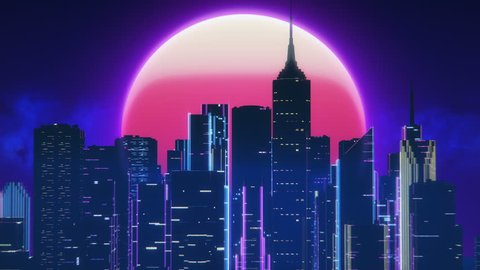 Synthwave city against pink moon, beautiful loopable background, 3D animation.  Skyscrapers and neon in night city