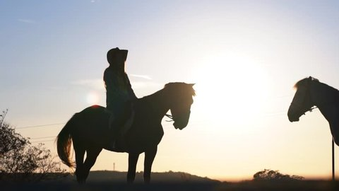 SLOW MOTION: Silhouettes of a young couple sitting on horse's back, with bright sunset light in the background