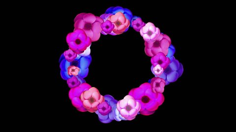 Wreath of flowers time lapse blooming isolated on black background. Round wreath of flowers with alpha mask