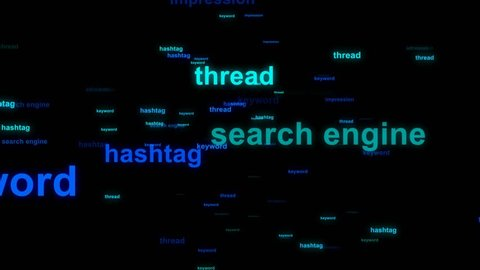 Word cloud / tag cloud / text array - animation. Containing words related to online marketing, social media, web marketing, blogs, internet and social network.