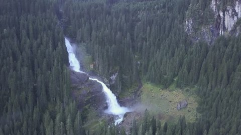 Aerial view of Krimml waterfall_ Austria