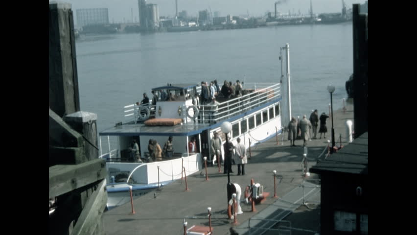 London, United Kingdom - 1978: Tourists at the Greenwich Pier #1008146302