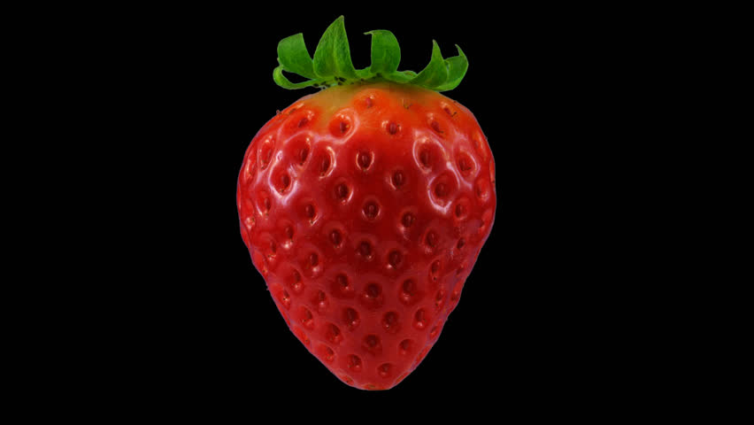 Red strawberry with transparent background or alpha channel, looped rotation