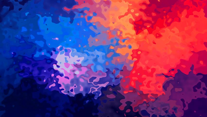 abstract animated stained background seamless loop video - watercolor effect - vibrant multi color spectrum - blue, red, orange and purple