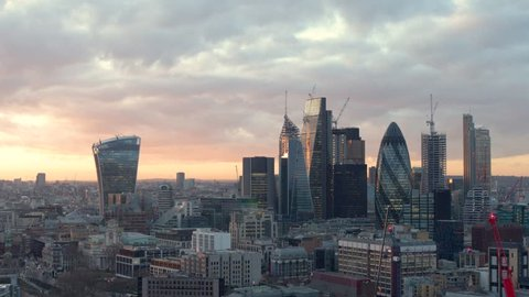 Panoramic aerial of Central London skyline under marvelous sunrise sky