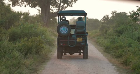 jeep safari in the Udawalawe National Park. in slow motion. real time