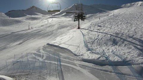 Timelapse ride first person on cable lift ski on ski resort. Canillo ski region, Andorra la Vella