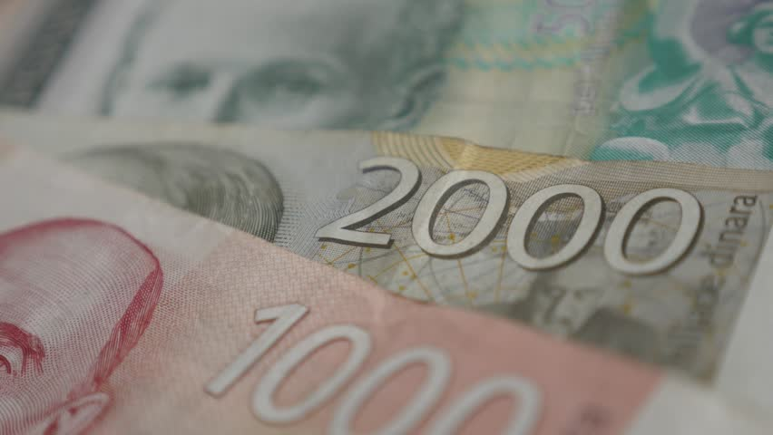 Lot of Serbian banknotes on pile 4K 2160p 30fps UltraHD panning footage - Mixed denominations of dinar shallow DOF slow pan 3840X2160 UHD video