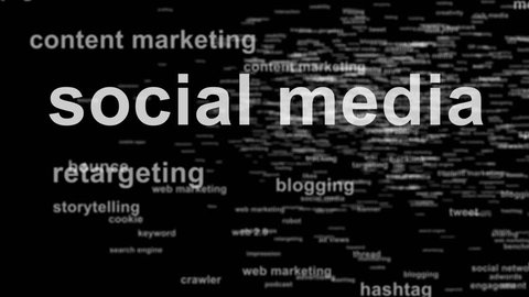 Animated word cloud (tag cloud) in 3D space containing words related to social media, marketing, internet and web - seamless loop - Black and white - DOF effect (depth of field)