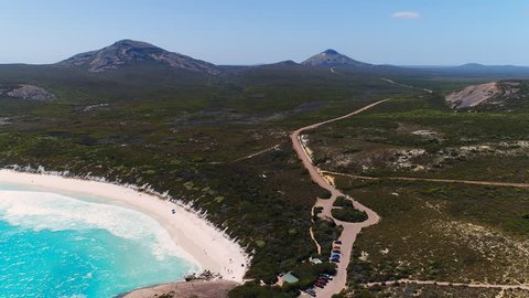 Aerial view of coastline of Hellfire Bay, crystal clear waters of Southern Ocean - Cape Le Grand, Esperance, Western Australia from above, 4k UHD