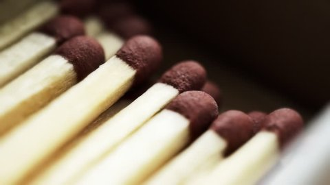Matchbox and matches super close up stock footage