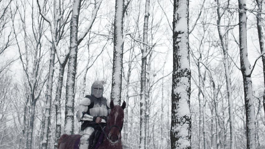 Portrait of brave medieval knight wearing steel protection and helmet, being horseback on battlefield in forest slow motion. Reconstruction of historical battle