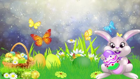 Floating Particles with butterfly backgrounds, Colorful Easter eggs. Easter bunny.  Festive decoration for TV program with easter theme. Seamless loopable HD video