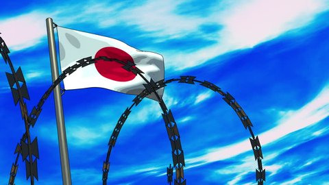Cartoon Style 3D animation of a Japanese flag waving on a flagpole as razor wire appears in the foreground; depicting the increase of barriers between nations.