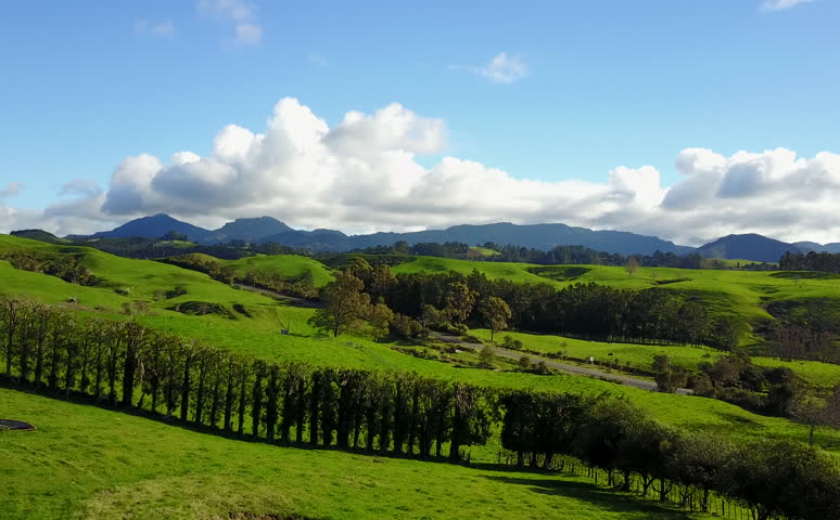Landscape aerial footage flying over the Coromandel Peninsula on the Northern Island of New Zealand.