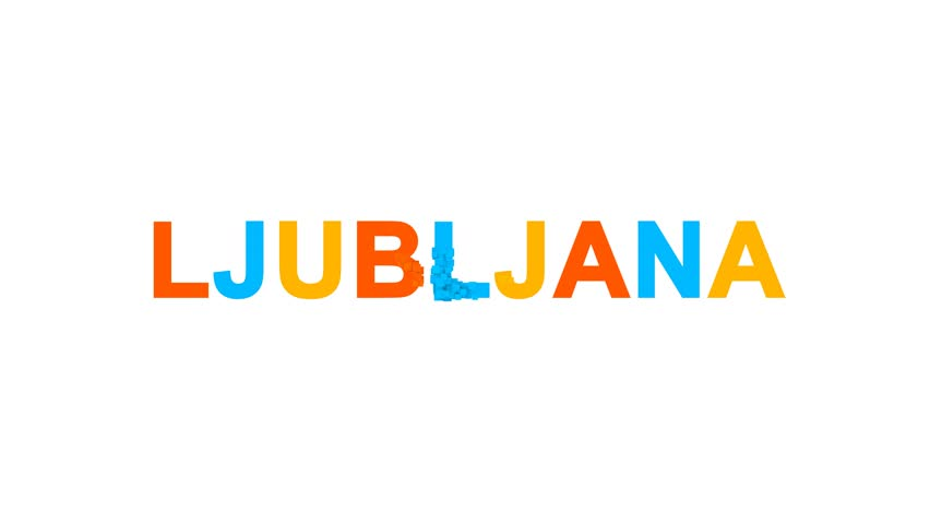 Capital name LJUBLJANA from letters of different colors appears behind small squares. Then disappears. Alpha channel Premultiplied - Matted with color white | Shutterstock HD Video #1008406792