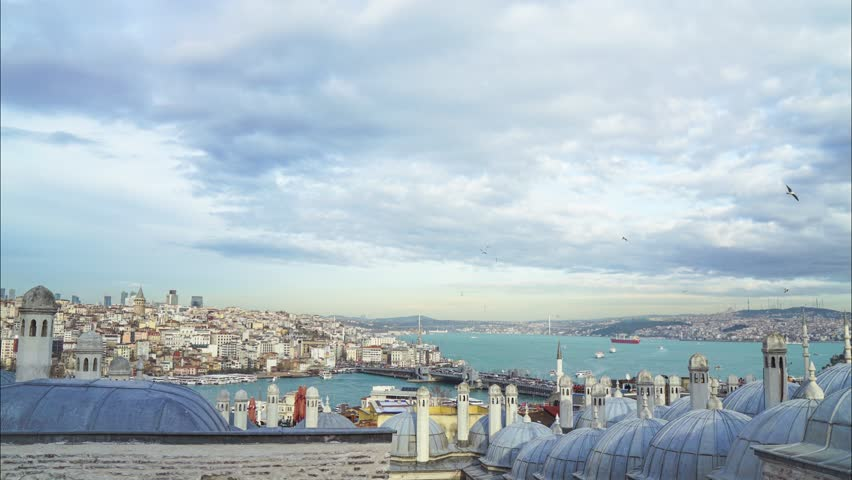Bosphorus Time Lapse pan, Panoramic view Istanbul, Suleymaniye Mosque and Galata Tower