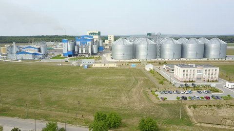 Row of granaries for storing wheat and other cereal grains. Aerial view