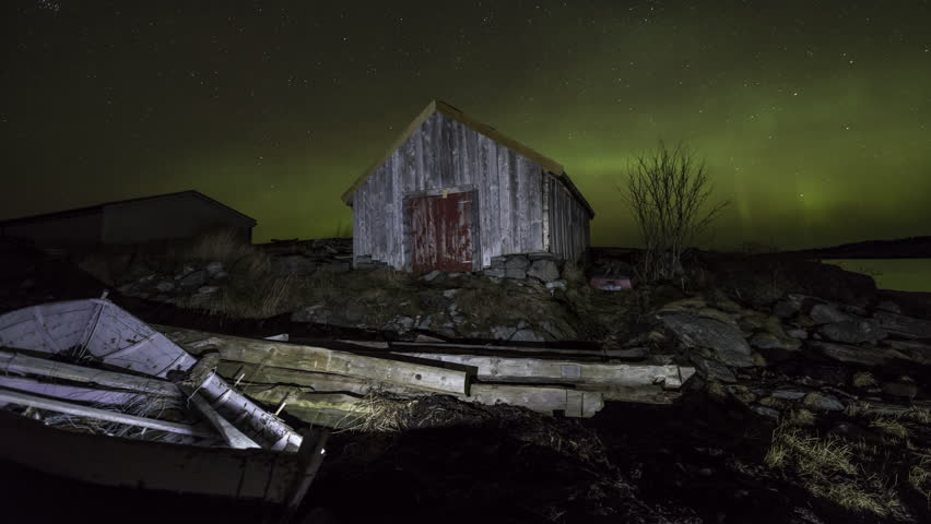 boathouse with Northern Lights