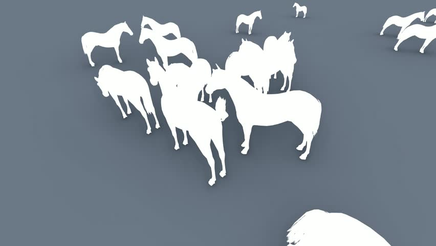 Many silhouettes of  horses.3D animation and rendering