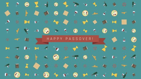 "Passover holiday flat design animation background with traditional symbols with text in english ""Happy Passover"". loop with alpha channel."