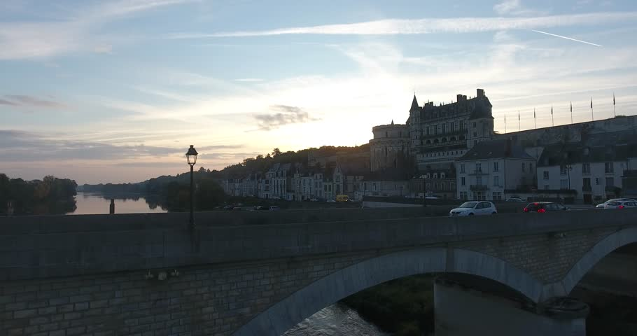 Very nice sunrise over the city of Amboise, based at the river Loire in France. Really nice overlooking the castle of Amboise and the bridge over the river.
