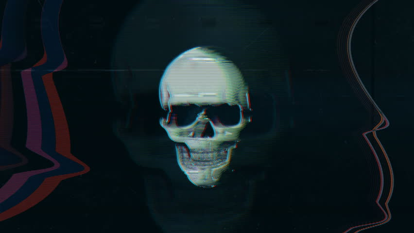 Skull image flashing on screen, hacking message, system breach, creepy scene.  Warning message on screen