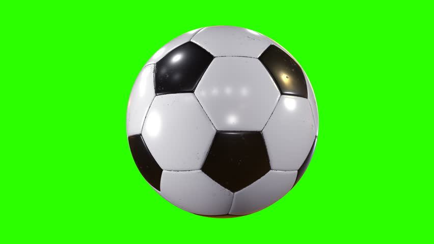 Set of 3 Videos. Beautiful Soccer Ball Rotating in Slow Motion on Green Screen. Looped Football 3d Animation of Turning Ball. 4k Ultra HD 3840x2160.