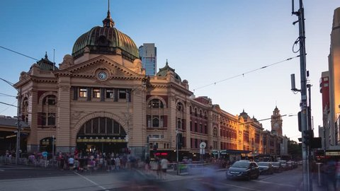time lapse video of Flinders street station. It is the busiest station on Melbourne's metropolitan network.