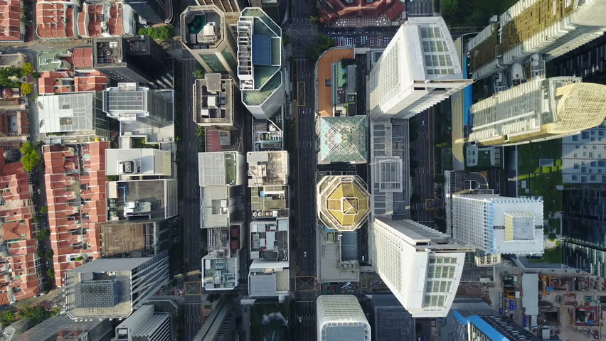SINGAPORE - MAY 2017: Static overhead drone shot of commercial office buildings in central business district Singapore #1008516472