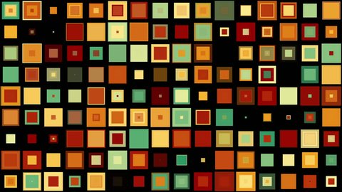 Colorful mid-century style squares appear and evolve on black background