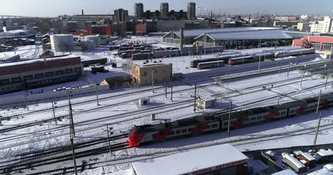 Russia, Saint Petersburg, 07 March 2018: Aerial video of museum of the Railways of Russia in winter, the old trains,  exhibition complex, Baltic station railway, modern building, RZD,  facade