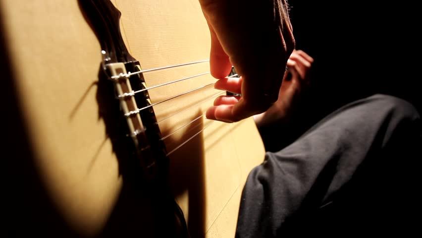 Man playing Acoustic guitar music musical musician flamenco band jazz Spain