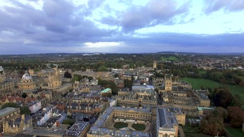 Oxford City Aerial Panoramic View feat. Famous Education Iconic Prestigious Oxford University and Historic Medieval College Buildings with Skyline Clouds in Oxfordshire, England UK - 4K Ultra HD