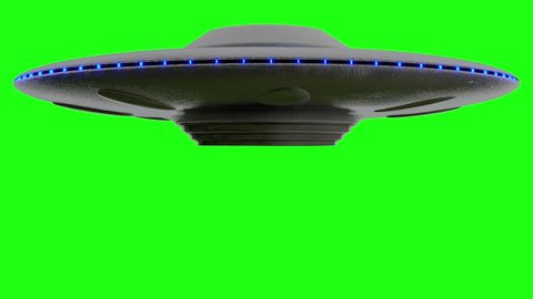 UFO Flying Saucer on Green screen  rotates down from top of screen. Stops then rotates fly's up to top of greenscreen, loop 4k