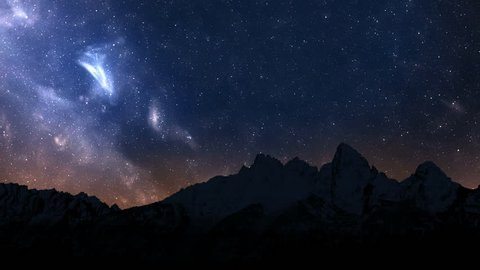 Night sky in the mountains high time-lapse