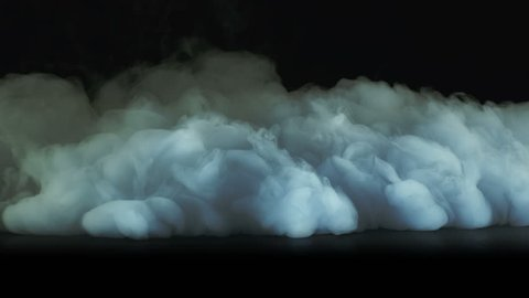 4K Armageddon Epic Cinematic Scene Fantasy approaching to camera power energy apocalypse massive clouds smoke wave on black background. (slow motion-150fps) Shooted with red camera.