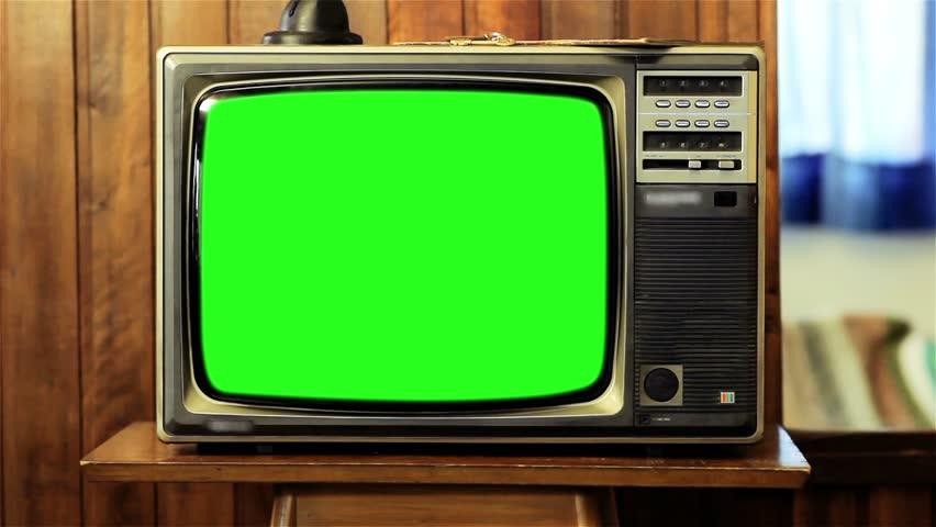 Old Television with Green Screen. Zoom In. Slow.