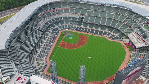 Atlanta Aerial - Birdseye closeup flying around baseball stadium before game 11/17