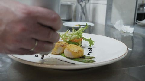 Delicates, dish with sea buckets and salad, chef finishes cooking the dish decorates the dish with sauce, restaurant dish