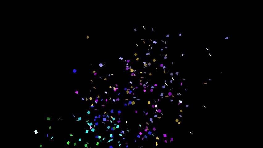 colorful confetti explosion black background 3d animation