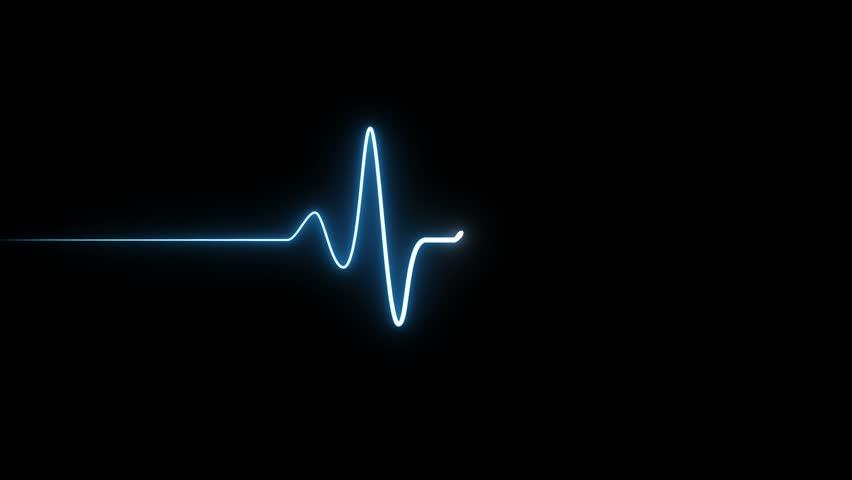 EKG 60 BPM Loop Screen, Blue. Heart rate monitor / electrocardiogram (EKG or ECG) loop beeping at 60 beats per minute for screen savers or computer monitor displays, animated at 60fps.   Shutterstock HD Video #1008766622